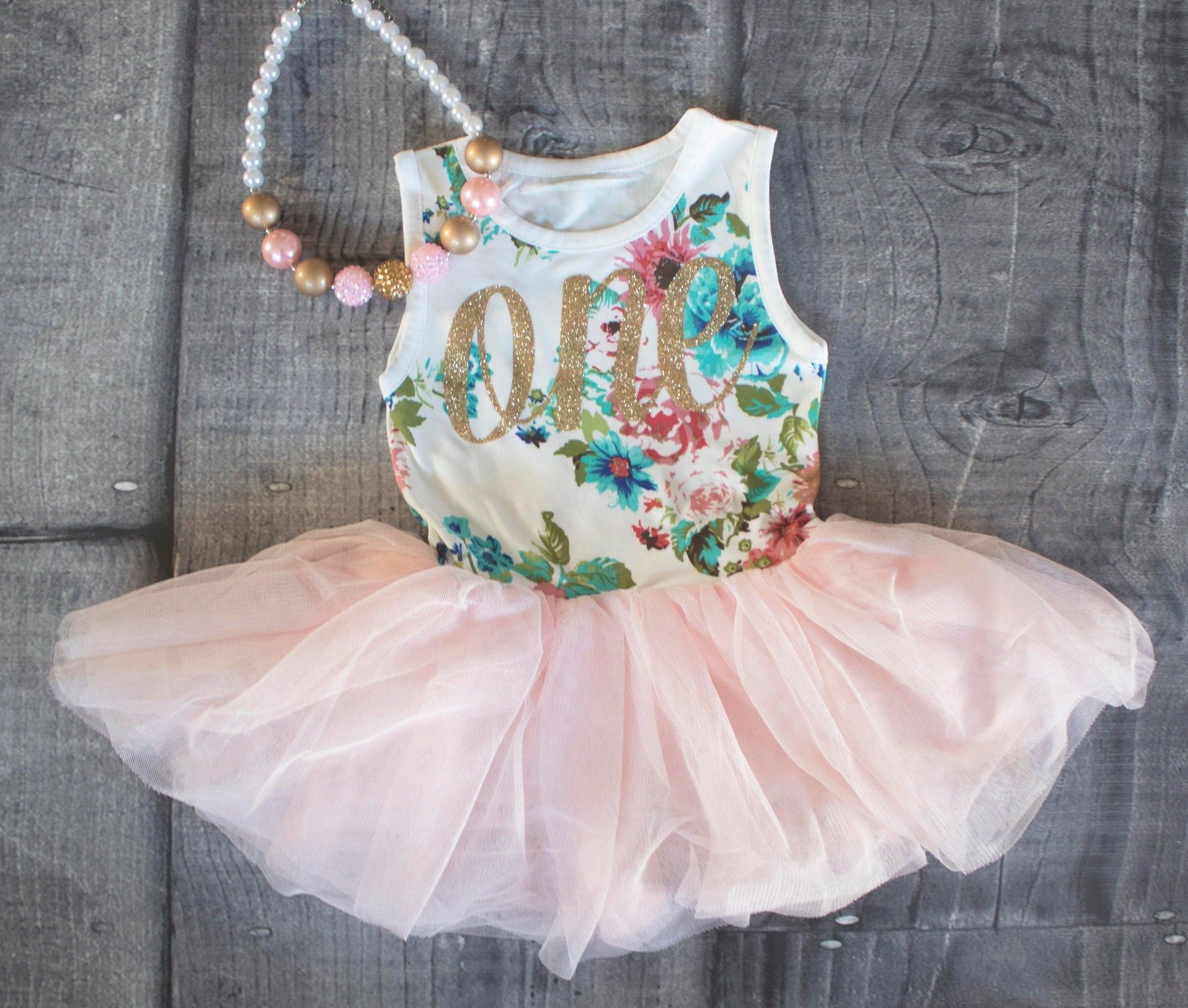 First Birthday Outfit, First Birthday Dress, Pink and Gold Birthday Outfit, Floral First Birthday Dress, 1st Birthday Outfit, First Birthday