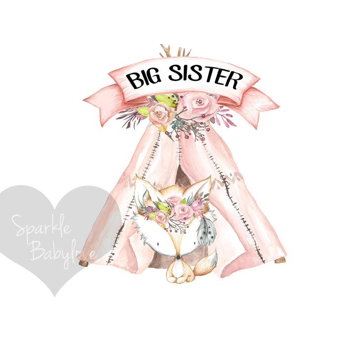 BIG Sister Iron On Ready To Press Transfer,Boho Teepee Iron On Transfer Vinyl, Iron On Transfer, Big Sister Iron on, Unicorn HTV