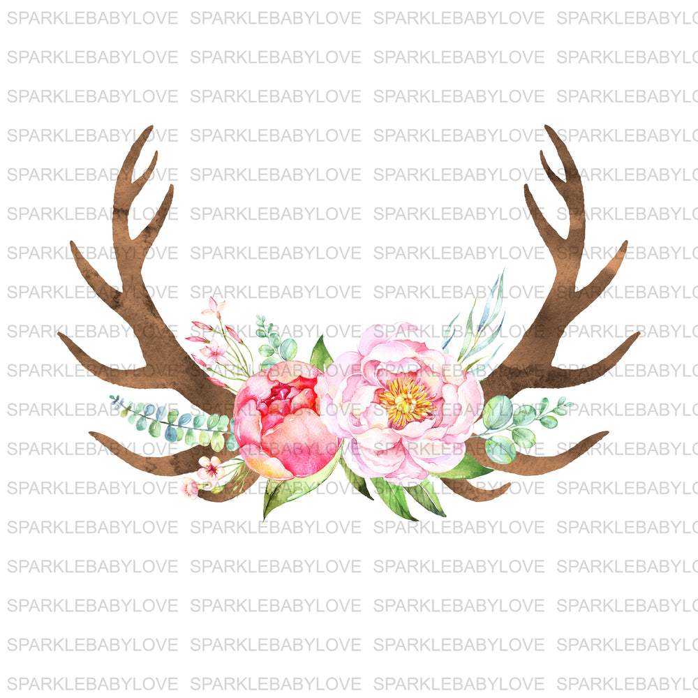 Floral Antler Iron on, DIY iron on,Sublimation transfer, Ready to Press, Iron on Ready, htv printed, Antler Iron on, Iron on Transfer