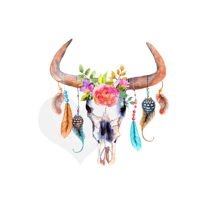 Skull Bull Iron On Ready To Press Transfer Christmas design, Tribal Indian Iron on, Floral Skull Iron On HTV, Bull Flower