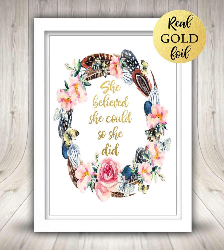 Foil Print, Gold Foil Print, Custom Foil Print, Calligraphy Sign, She believed she could so she foil, Personalized Foil Print, Custom Print