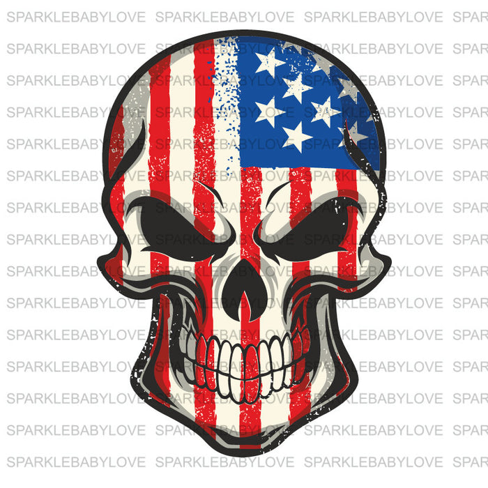 Skull American Flag Iron on Transfer, Skull Sublimation Transfer, Ready to Press Iron On, USA Flag Skull, American Flag Skull Iron on