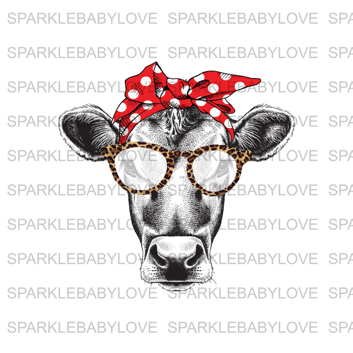 Cow Head leopard glasses Ready To Press Transfer, Sublimation Transfer, Cow Sublimation