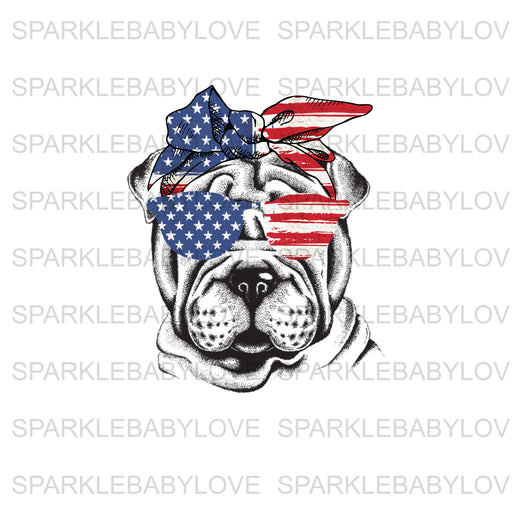 Shar Pei Patriotic Dog Ready to press DIY iron on, Sublimation transfer, Ready to Press, Iron on Ready, htv printed,  Iron on Transfer