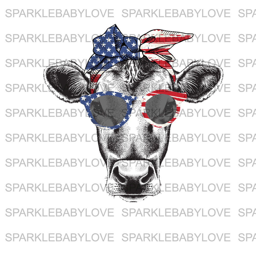 Patriotic Cow face Iron On Ready To Press Transfer design, American Cow iron on, Sublimation Transfer
