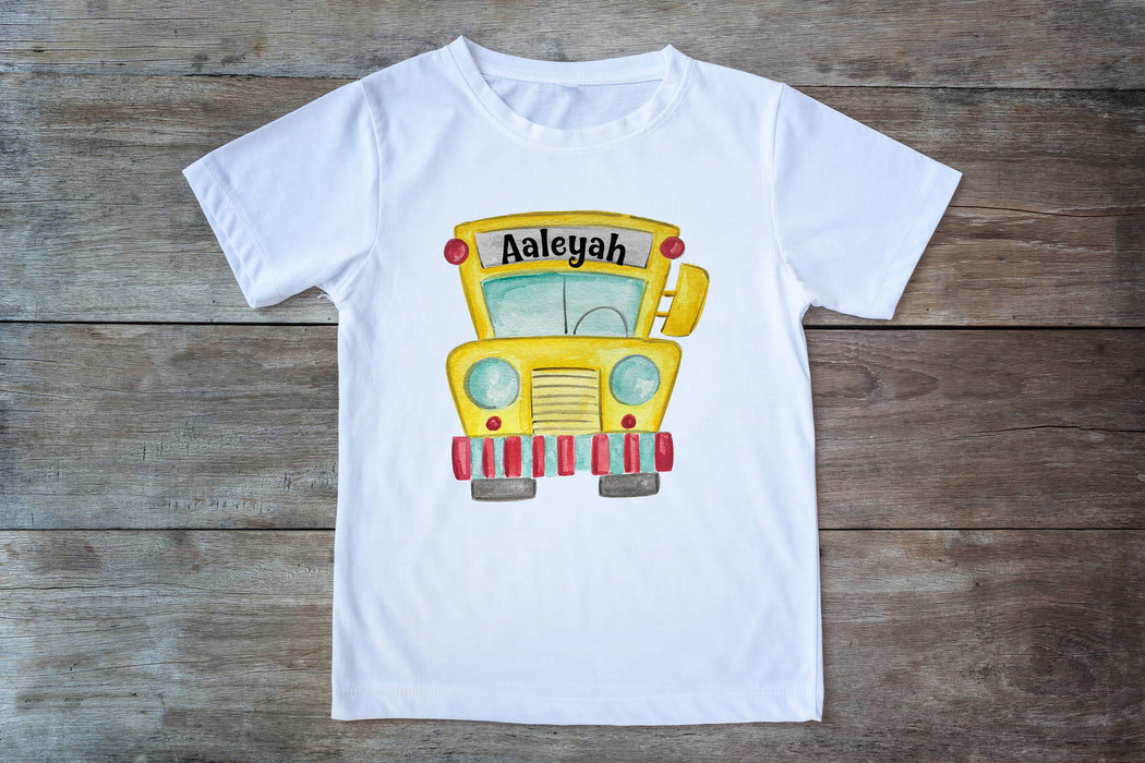 Personalized Back to School shirt, Kindergarten shirt, First Day of School, School Bus Shirt, Back to School Shirt