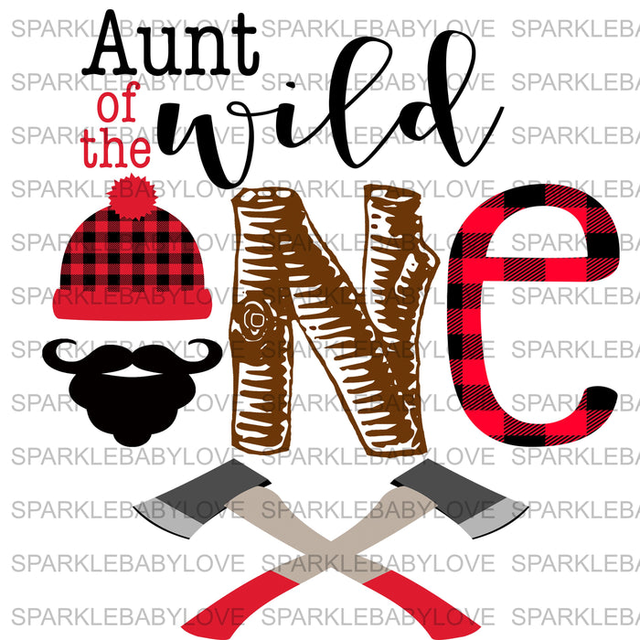 Aunt of the wild one Lumberjack Birthday Iron On Ready To Press Transfer, Lumberjack One Heat Transfer Vinyl, Iron On Transfer