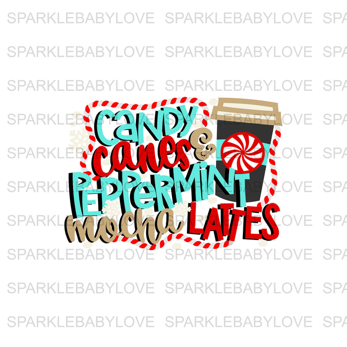 Candy Canes & peppermint mocha lattes Decal, Car Decal, Yeti Decal, Tumbler Decal, Coffee mug, Christmas Decal