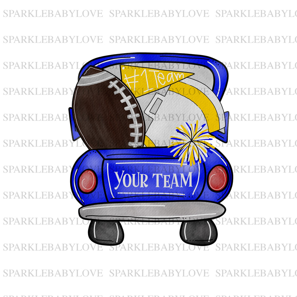 Football blue yellow truck sublimation transfer, football printed vinyl, football iron on, football sublimation transfer, iron on patches