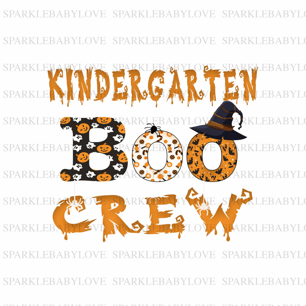 kindergarten boo crew sublimation transfer, Halloween truck printed vinyl, Halloween iron on, sublimation transfer ready to press