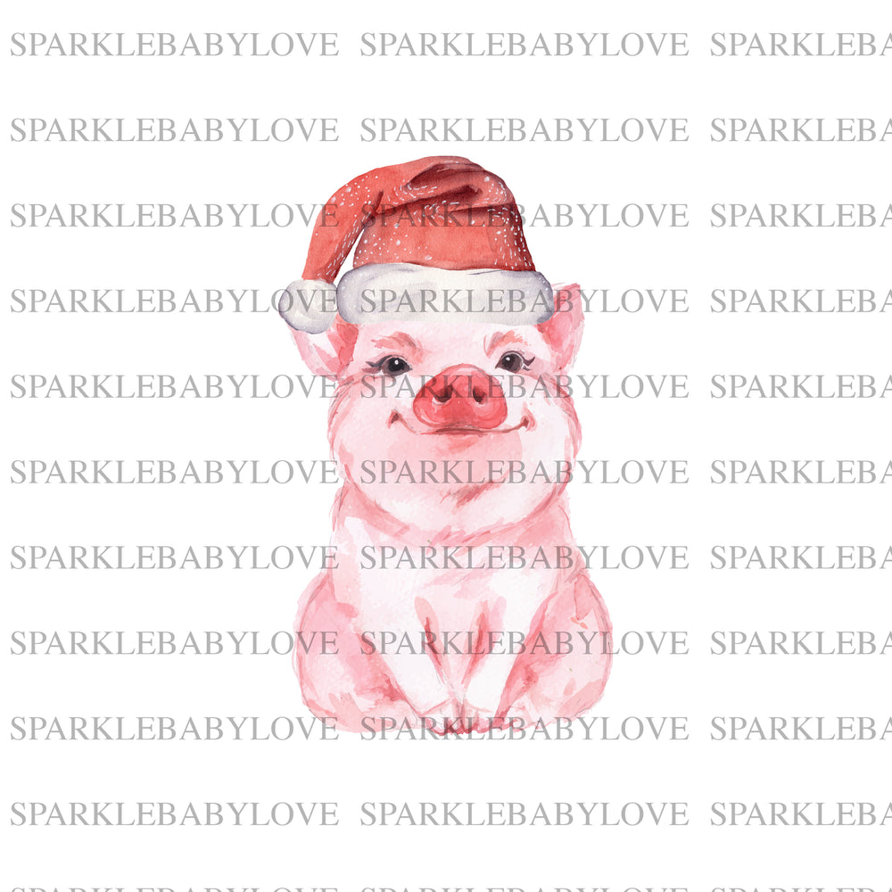 Pig Santa Iron On Ready To Press Transfer design, Sublimation Design, Sublimation Transfer, Christmas pig sublimation transfer