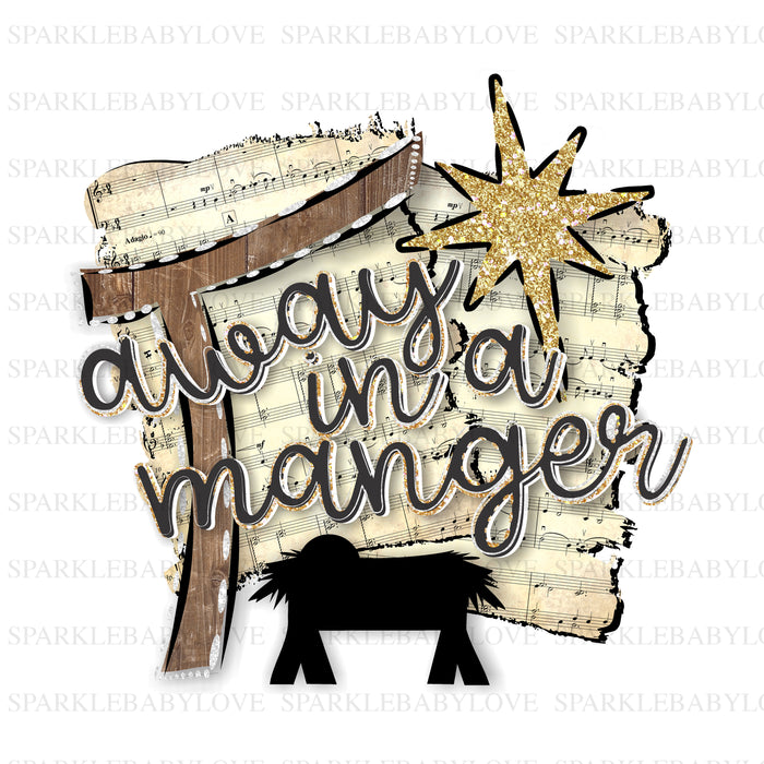 Away in the manger Christmas Holiday Iron On Ready To Press Transfer Christmas design, Merry Christmas Iron on, Christmas Tree Truck