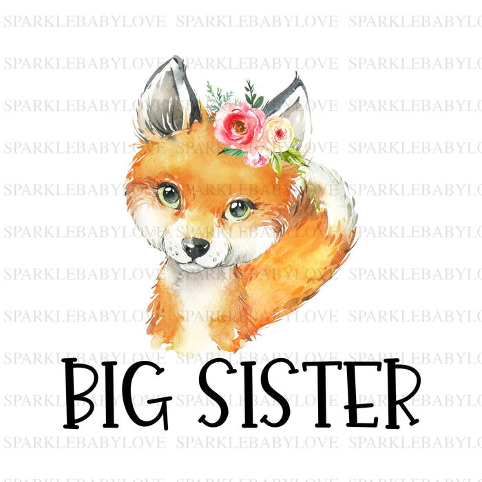 Boho woodland big sister iron on Ready To Press Transfer, Boho Fox Iron On Transfer Vinyl, Iron On Transfer, Big Sister Iron on, Unicorn HTV