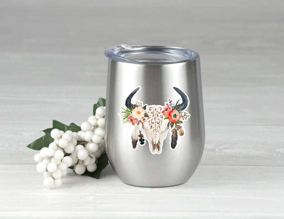 Tribal Skull with Feathers Decal, Car Decal, Yeti Decal, Tumbler Decal,Bull Skull DecalSteer Feather Decal, cow skull