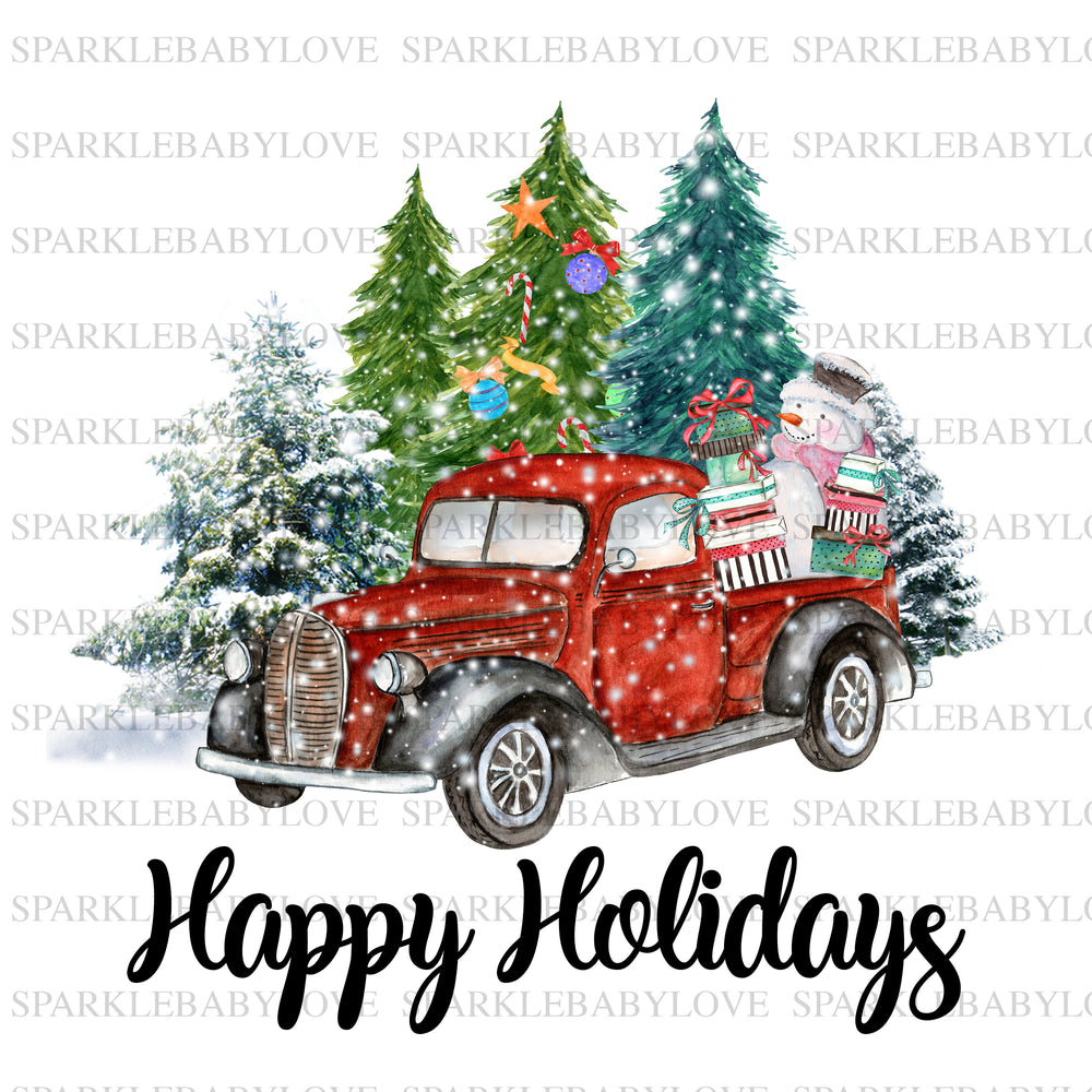 Happy Holidays Sublimation Merry Christmas Tree Truck Holiday Iron On Ready To Press Transfer Christmas design, Merry Christmas Iron on