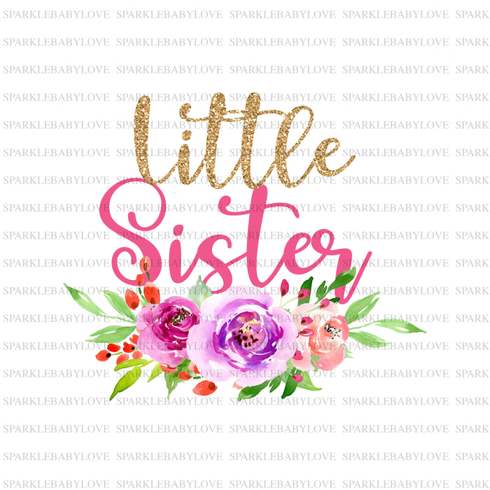 Little sister Iron On Ready To Press Transfer,Little sister  Iron On Transfer Vinyl,Iron On Transfer, Floral iron on patch