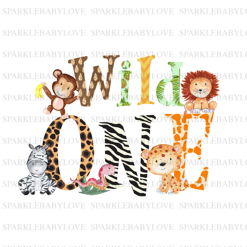 wild one Safari Birthday Iron On Ready To Press Transfer, Safari jungle iron on, Wild one iron on patch, wild one safari jungle birthday