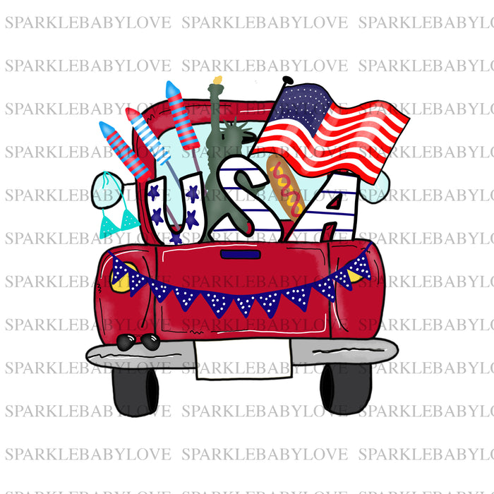 Patriotic truck iron On Ready To Press Transfer, 4th of July  Iron on, Sublimation Transfer, Summer iron on transfer