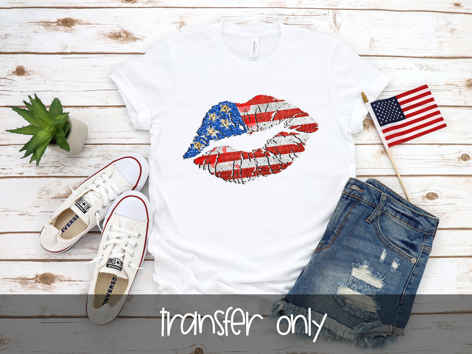 American Flag Lip Ready to press DIY iron on, Sublimation transfer, Ready to Press, Iron on Ready, htv printed, Sublimation Transfers