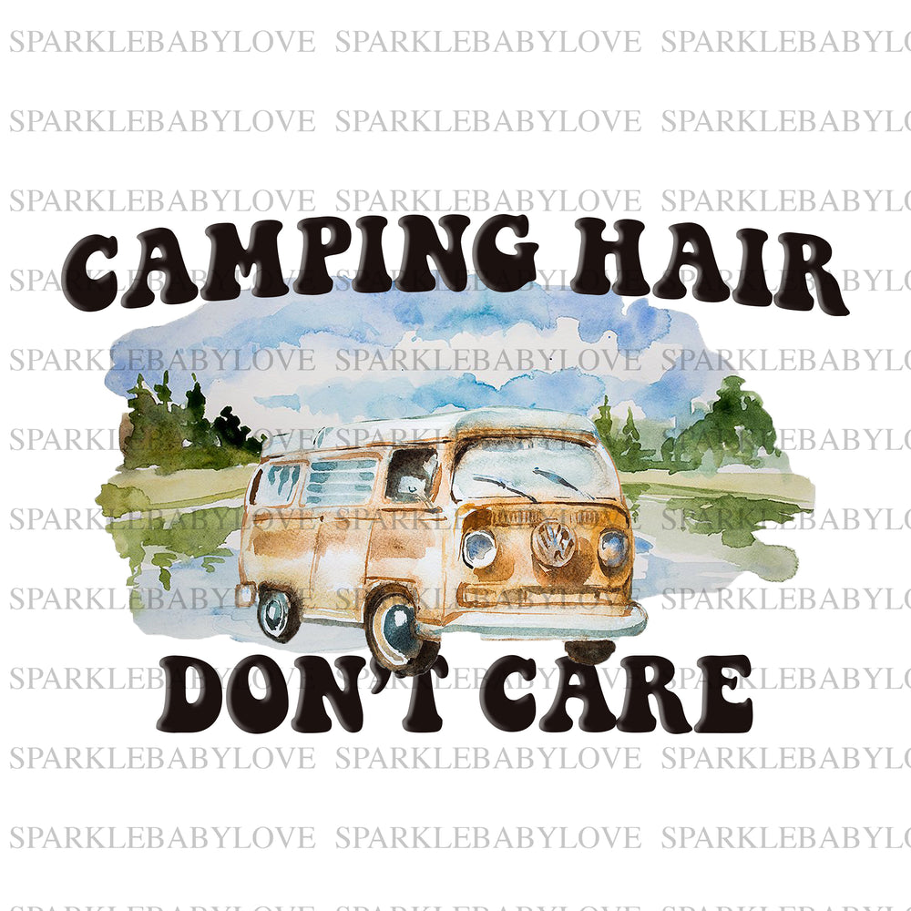 Camping Hair don't care iron On Ready To Press Transfer, Camper Iron on, Sublimation Transfer, Summer iron on transfer
