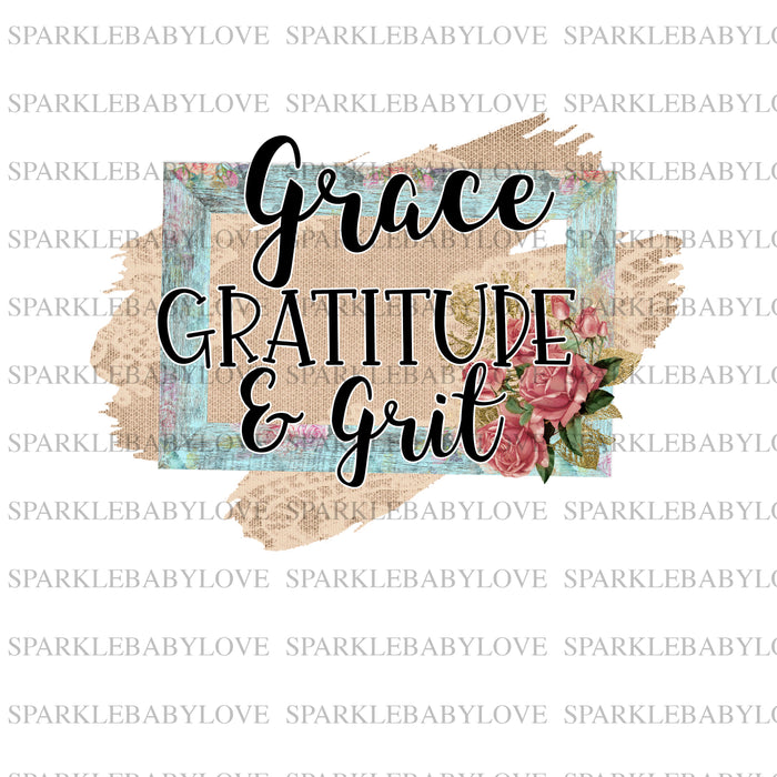 Grace gratitude and grit sublimation, Thanksgiving DIY iron on, Fall image transfer, Ready to Press, Thankful and blessed, Iron on Transfer