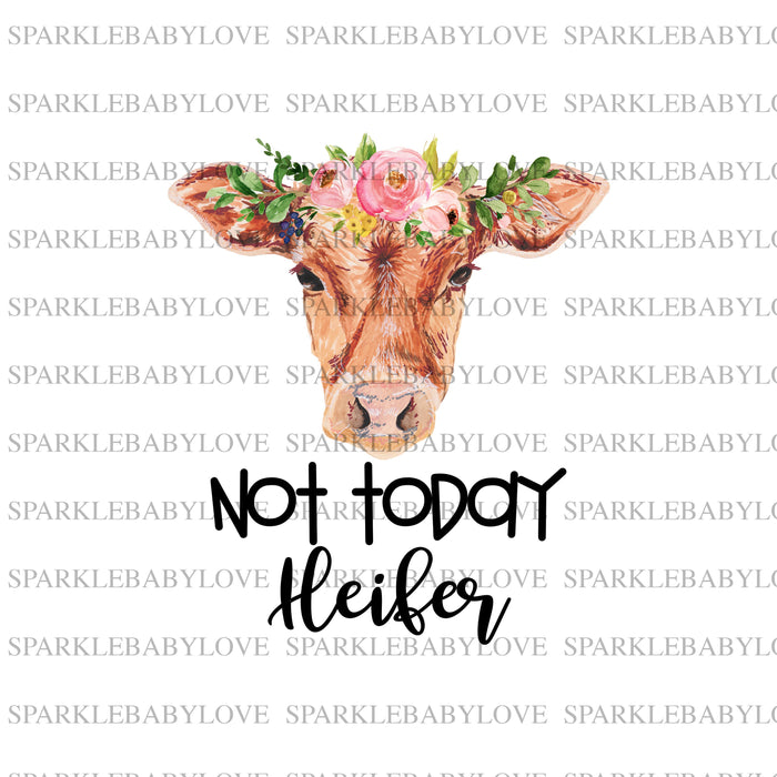 not today heifer Cow with Flower Decal, Car Decal, Yeti Decal, Tumbler Decal,Bull Skull DecalSteer Feather Decal, cow skull
