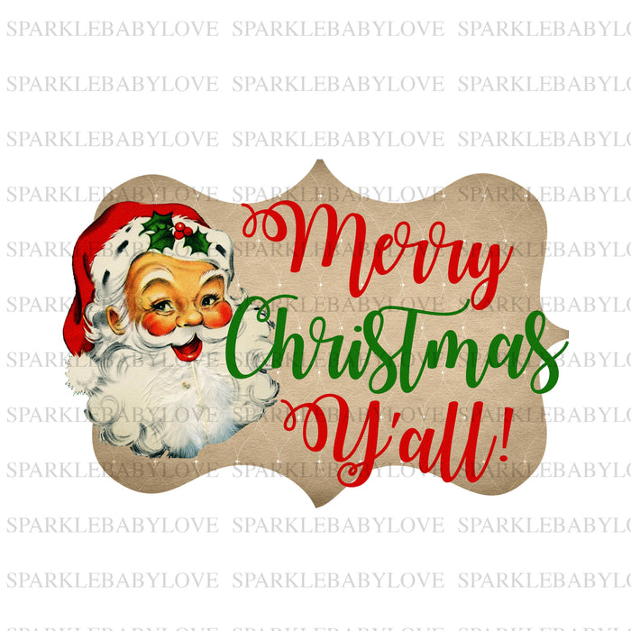 Merry Christmas y'all Iron On Ready To Press Transfer Christmas design