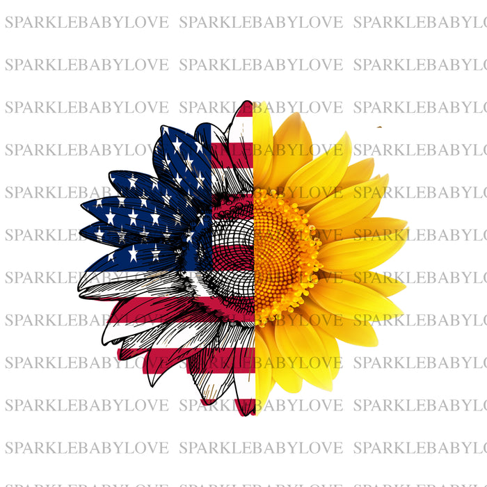 Sunflower Patriotic, Sunflower iron on transfer,Sublimation transfer, Ready to Press, Iron on Ready, Iron on Transfer