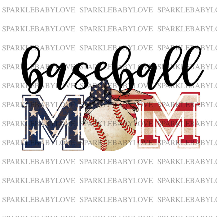 Baseball Mom 4th of July Iron On Ready To Press Transfer, Baseball Mom design, Baseball Iron on, Sublimation Transfer