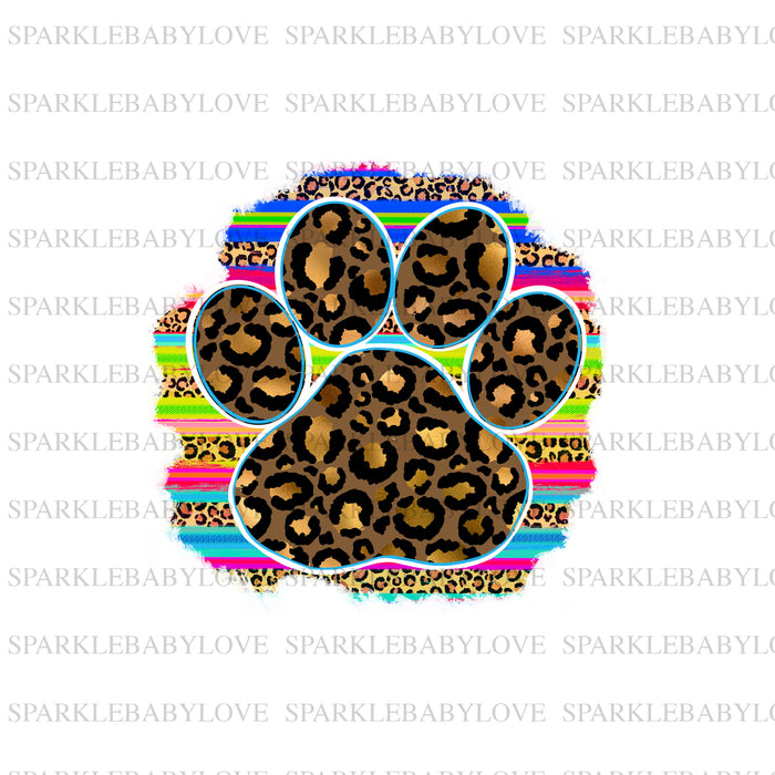 Serape paw print sublimation transfers, PAw Print iron on transfer, image transfer ready to press Sublimation design