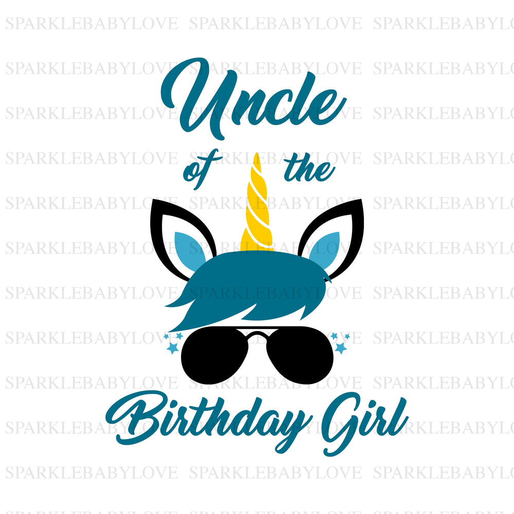 Uncle of the Birthday Girl Unicorn Iron On Ready To Press Transfer, Unicorn Iron On Transfer Vinyl,Iron On Transfer, Unicorn Iron on