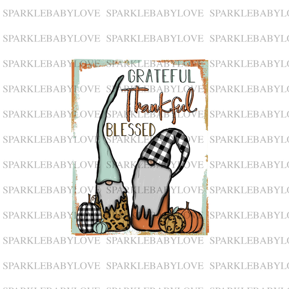 grateful thankful and blessed gnomes, Thanksgiving DIY iron on, Fall image transfer, Ready to Press, Thankful and blessed, Iron on Transfer