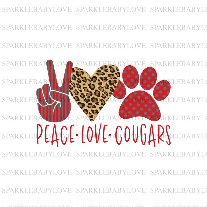 Peace Love Cougars DIY iron on, image transfer, Ready to Press, Iron on Ready, Cougars, Sublimation design