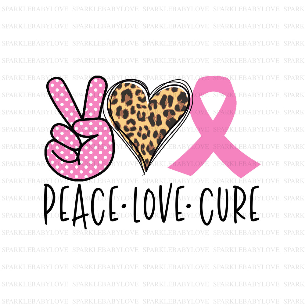 Peace Love Cure iron on, Breast Cancer awareness sublimation transfer, Cancer awareness iron on ready to press vinyl, Cancer sublimation