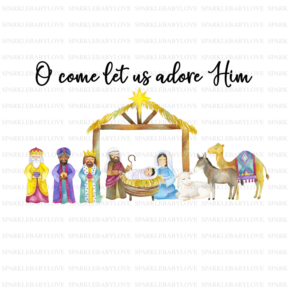 O come let us adore him iron on, christmas Sublimation,Merry Christmas Tree Holiday Iron On Ready To Press, Merry Christmas Iron on