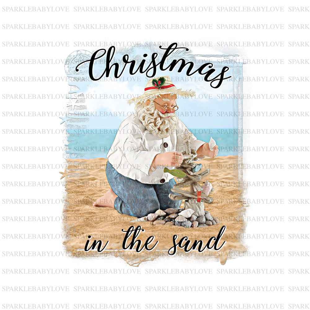 Christmas in the Sand Santa Iron On Ready To Press Transfer Christmas design, Santa Iron on, Vintage Santa HTV, Christmas Santa Iron On