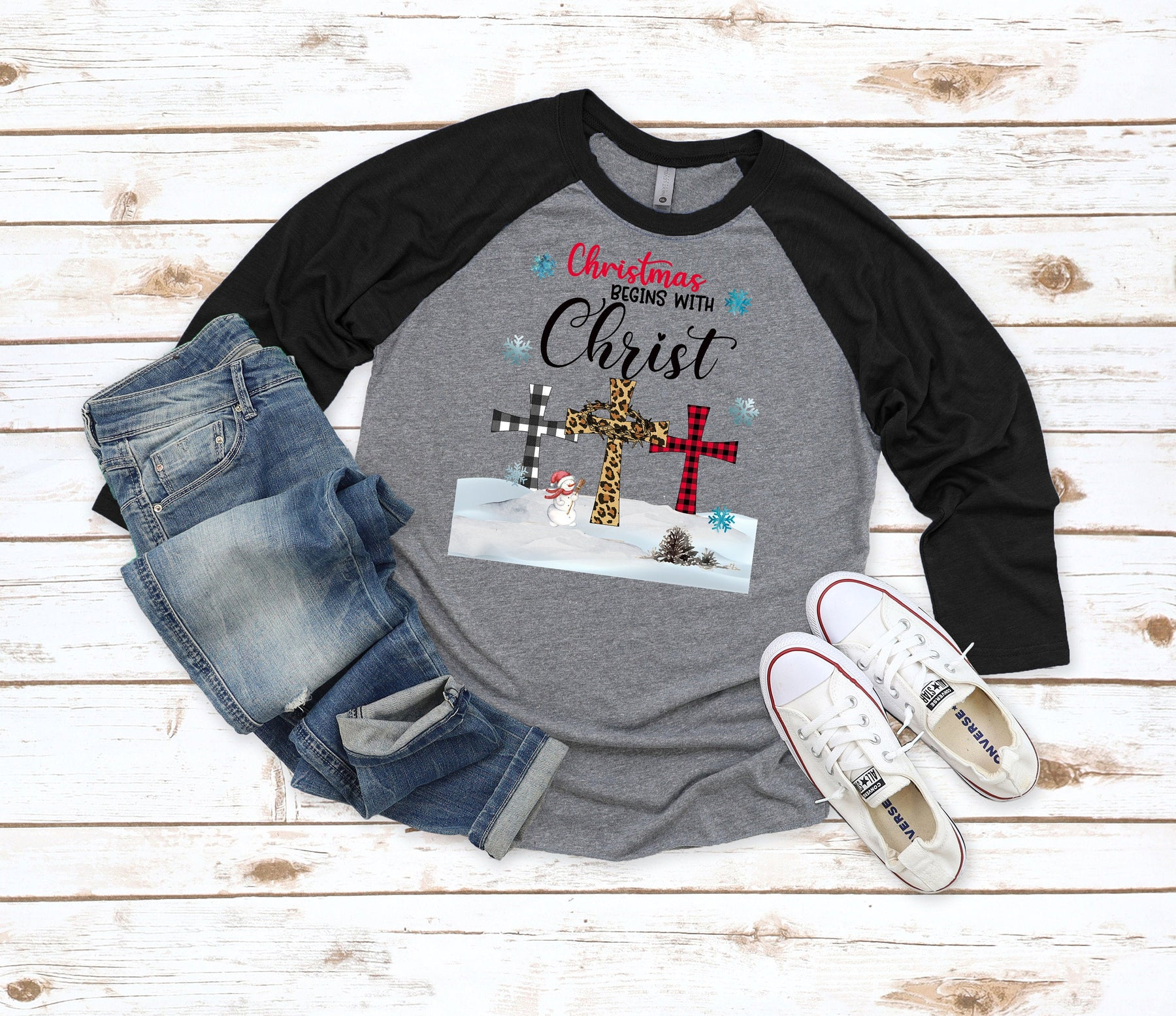 Christmas Begins with Christ Raglan shirt, Religious Christmas Shirt, christmas shirt, Christmas gnomes shirt, Christmas shirt for women