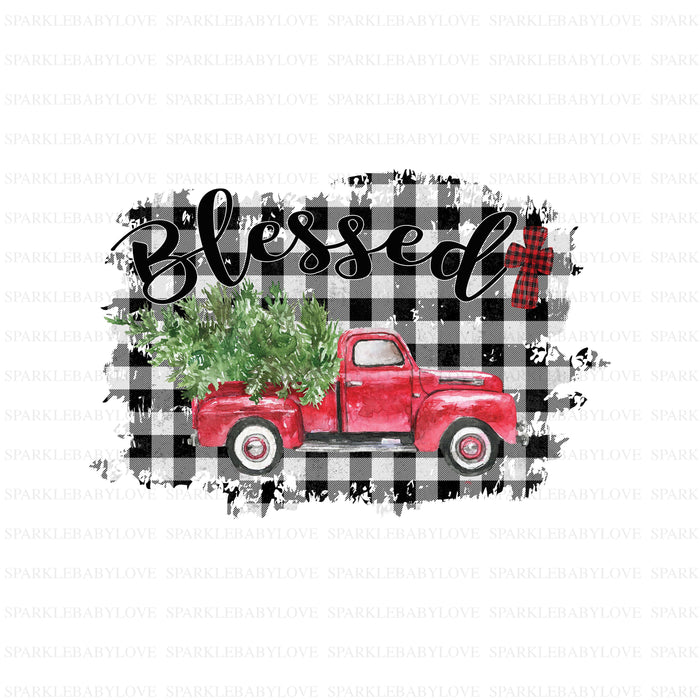 Blessed Christmas ruck Holiday Iron On Ready To Press Transfer Christmas design, Merry Christmas Iron on, Christmas Tree Truck