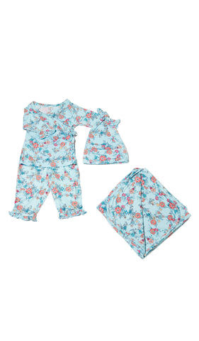 Baby's Ruffle Take-Me-Home 4 Piece  - Azure Mist