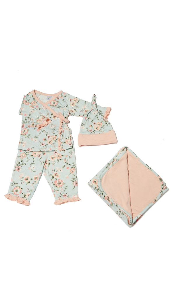 Baby's Ruffle Take-Me-Home 4 Piece  - Cloud Blue