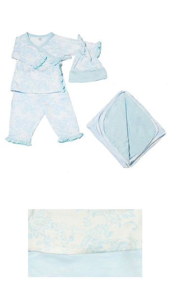 Baby's Ruffle Take-Me-Home 4 Piece  - Blue Chantilly
