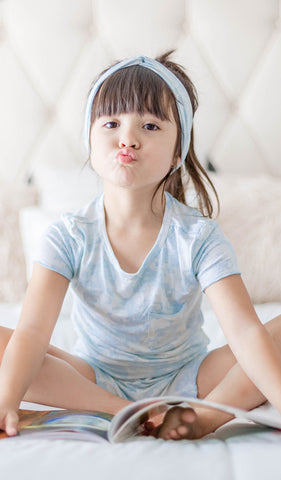 Bella Kids 3 Piece Short PJ Blue Chantilly - Final Sale