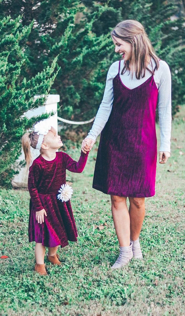 Kendyl Kids Velvet Twirly Dress - Merlot