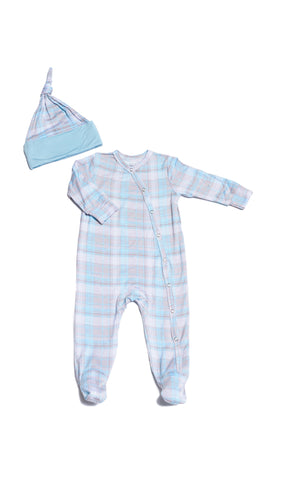 Footie 2 Piece  - Blue Plaid
