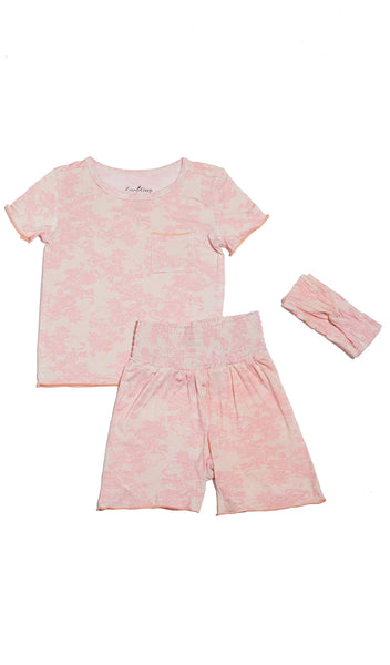 Bella Kids 3 Piece Short PJ  - Pink Chantilly