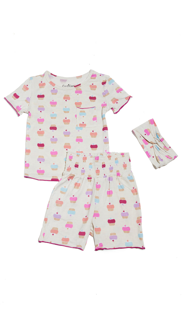 Bella Kids 3 Piece Short PJ  - Cupcakes