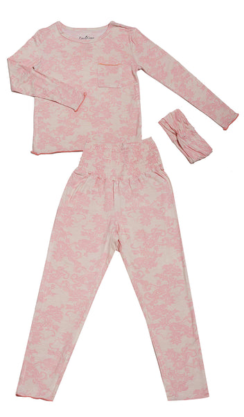 Charlie Kids 3 Piece Pant PJ - Pink Chantilly