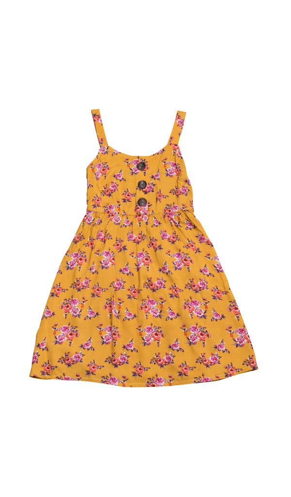 Catalina Kids Dress - Mustard Floral