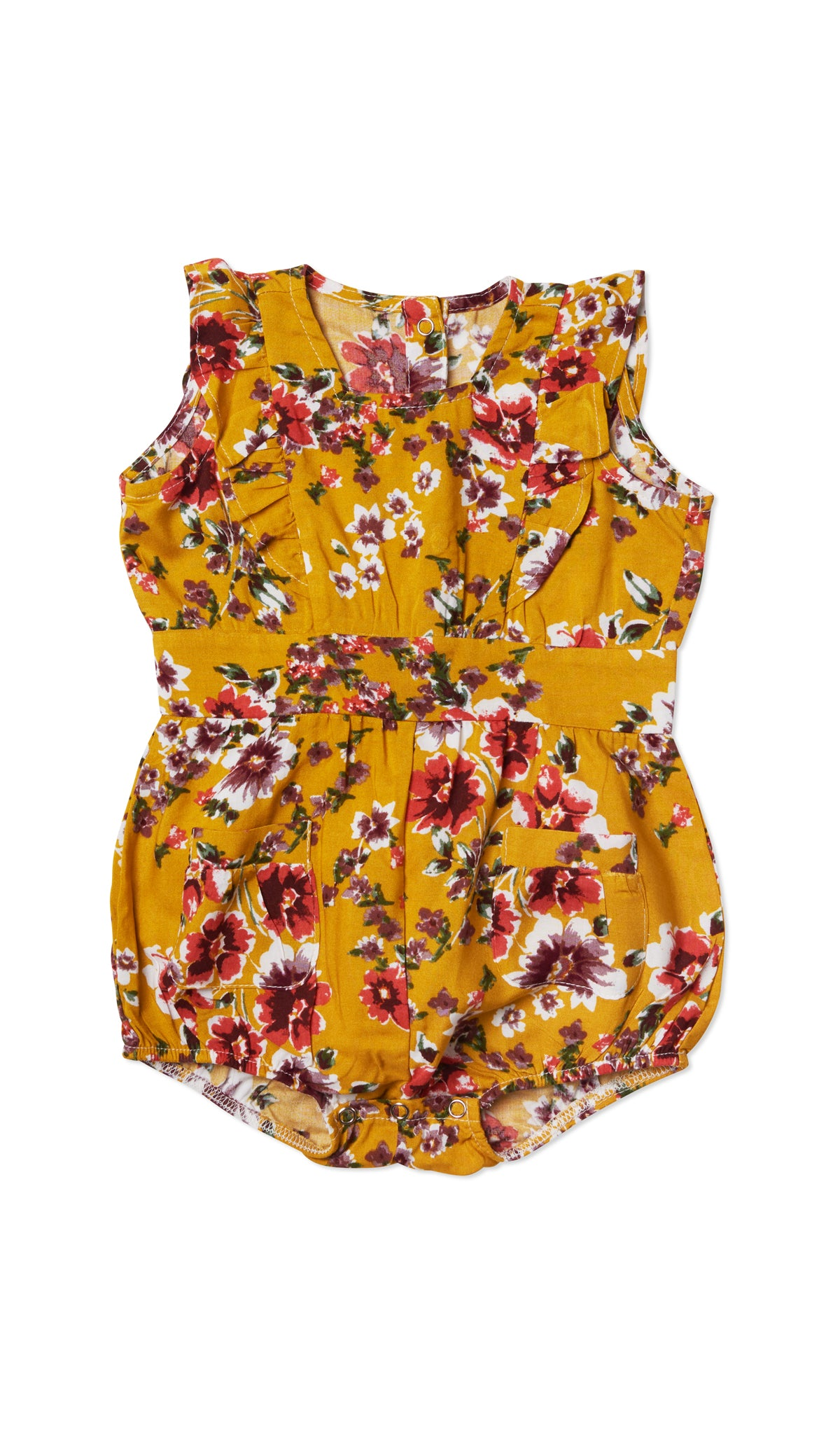 Baby Ruffle Bubble - Rust Floral