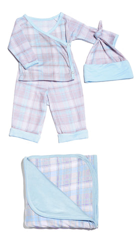 Baby's Take-Me-Home 4 Piece  - Blue Plaid